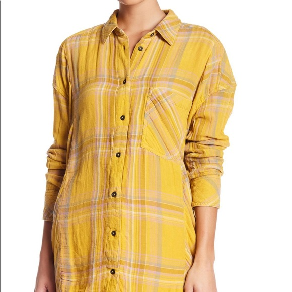 Free People Nordic Yellow Flannel Top